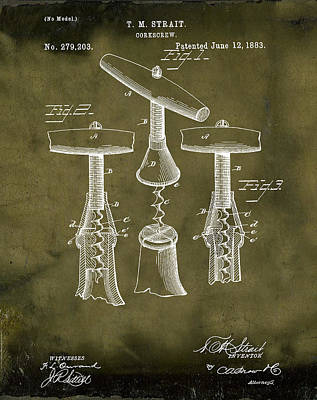 Wine Drawing - 1883 Corkscrew Patent In Grunge by Bill Cannon