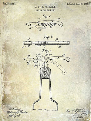 Wine Vineyard Photograph - 1883 Corkscrew Patent by Jon Neidert