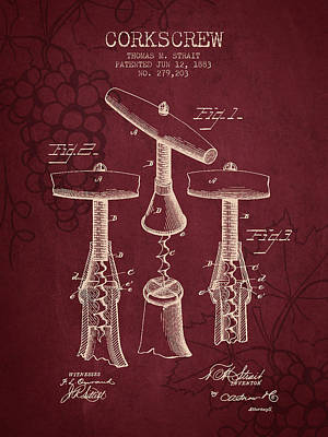 Grape Drawing - 1883 Corkscrew Patent - Red Wine by Aged Pixel