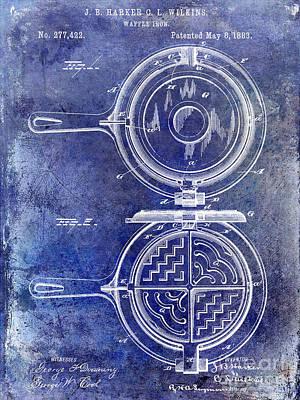 Old Diner Photograph - 1883 Waffle Iron Patent Blue by Jon Neidert