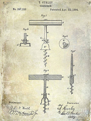 1884 Corkscrew Patent Print by Jon Neidert