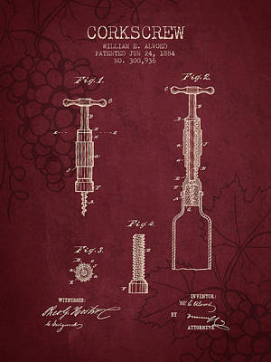 1884 Corkscrew Patent - Red Wine Print by Aged Pixel