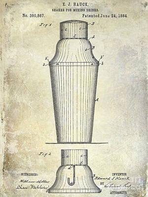 Tequila Photograph - 1884 Drink Shaker Patent by Jon Neidert