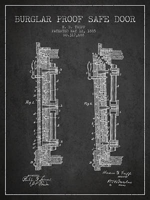 Silver Drawing - 1885 Bank Safe Door Patent - Charcoal by Aged Pixel