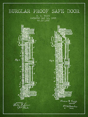 Silver Drawing - 1885 Bank Safe Door Patent - Green by Aged Pixel