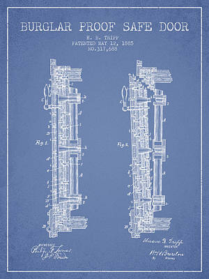 Silver Drawing - 1885 Bank Safe Door Patent - Light Blue by Aged Pixel