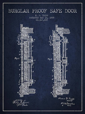 Silver Drawing - 1885 Bank Safe Door Patent - Navy Blue by Aged Pixel