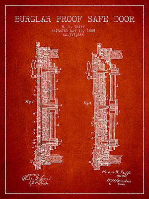 Silver Drawing - 1885 Bank Safe Door Patent - Red by Aged Pixel