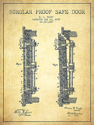 Silver Drawing - 1885 Bank Safe Door Patent - Vintage by Aged Pixel