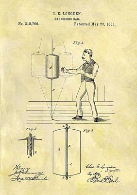 Boxer Mixed Media - 1885 Punching Bag Patent by Dan Sproul