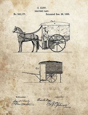 Horse And Cart Drawing - 1886 Delivery Cart Patent by Dan Sproul