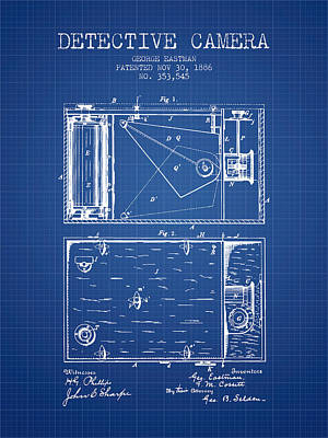 1886 Detective Camera Patent - Blueprint Print by Aged Pixel