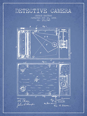 1886 Detective Camera Patent - Light Blue Print by Aged Pixel