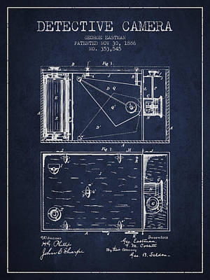 1886 Detective Camera Patent - Navy Blue Print by Aged Pixel