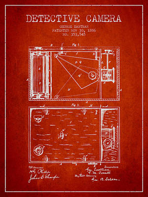 1886 Detective Camera Patent - Red Print by Aged Pixel