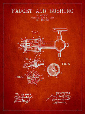 Restaurant Art Drawing - 1886 Faucet And Bushing Patent - Red by Aged Pixel