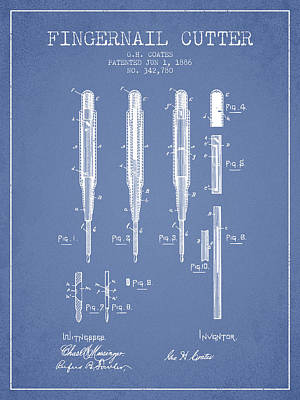 Beauty Salon Drawing - 1886 Fingernail Cutter Patent - Light Blue by Aged Pixel