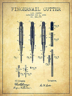 Beauty Salon Drawing - 1886 Fingernail Cutter Patent - Vintage by Aged Pixel