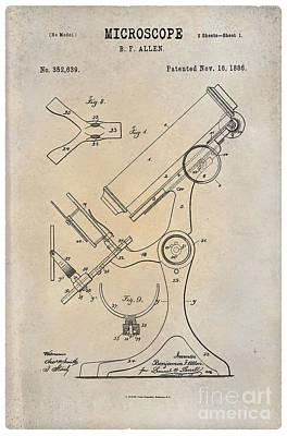 1886 Microscope Patent Art B.f. Allen 1 Print by Nishanth Gopinathan