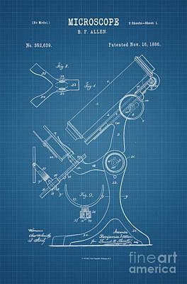 1886 Microscope Patent Art B.f. Allen 2 Print by Nishanth Gopinathan