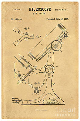 1886 Microscope Patent Art B.f. Allen 3 Print by Nishanth Gopinathan