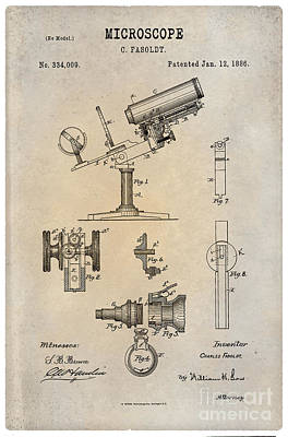 Historic Home Drawing - 1886 Microscope Patent Art Fasoldt 1 by Nishanth Gopinathan