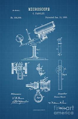 1886 Microscope Patent Art Fasoldt 2 Print by Nishanth Gopinathan