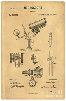 1886 Microscope Patent Art Fasoldt 3 Print by Nishanth Gopinathan