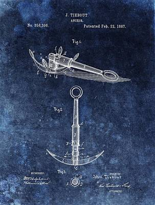 Stop Mixed Media - 1887 Boat Anchor Patent Illustration by Dan Sproul