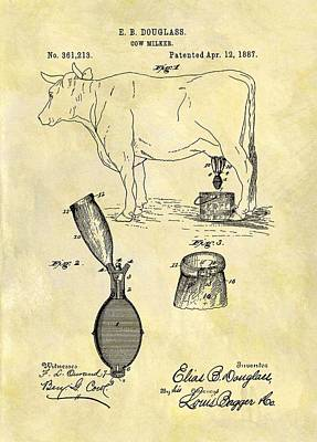 Cow Mixed Media - 1887 Cow Milker Patent by Dan Sproul