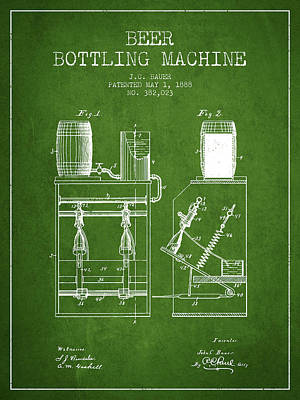 Beer Drawing - 1888 Beer Bottling Machine Patent - Green by Aged Pixel