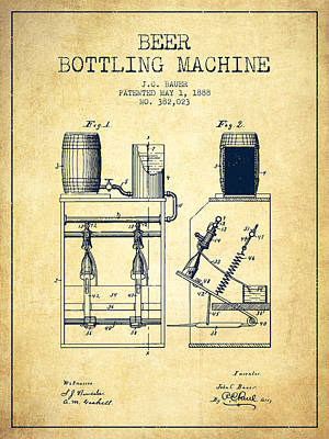 Beer Drawing - 1888 Beer Bottling Machine Patent - Vintage by Aged Pixel