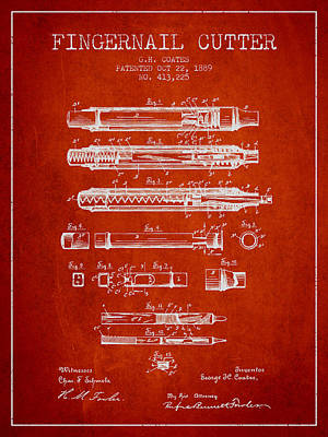 Beauty Salon Drawing - 1889 Fingernail Cutter Patent - Red by Aged Pixel