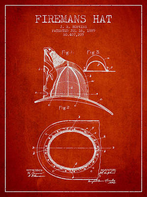 1889 Firemans Hat Patent - Red Print by Aged Pixel