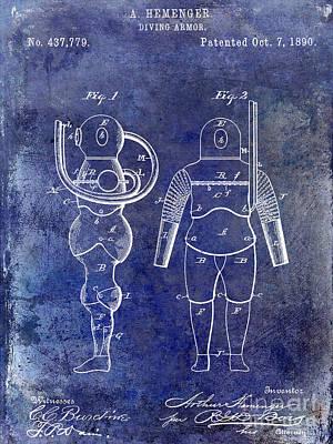 1890 Diving Armor Blue Print by Jon Neidert