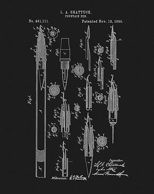 1890 Fountain Pen Patent Print by Dan Sproul