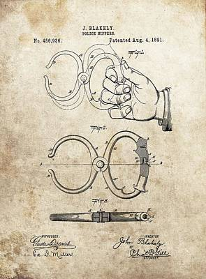 Police Officer Drawing - 1891 Handcuffs Patent by Dan Sproul