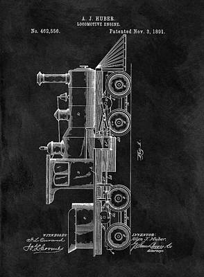 Train Mixed Media - 1891 Locomotive Engine Patent by Dan Sproul