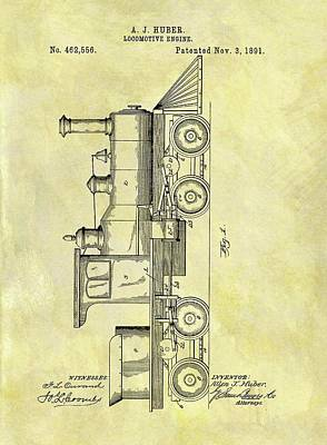 Train Mixed Media - 1891 Locomotive Patent by Dan Sproul