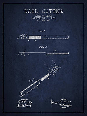 Beauty Salon Drawing - 1891 Nail Cutter Patent - Navy Blue by Aged Pixel