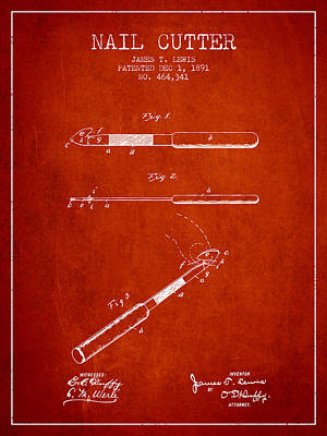 Beauty Salon Drawing - 1891 Nail Cutter Patent - Red by Aged Pixel