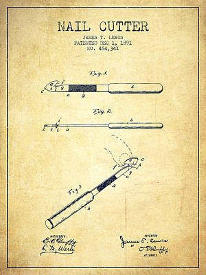 Beauty Salon Drawing - 1891 Nail Cutter Patent - Vintage by Aged Pixel