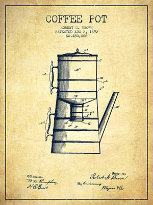 Drawing Of Lovers Drawing - 1892 Coffee Pot Patent - Vintage by Aged Pixel