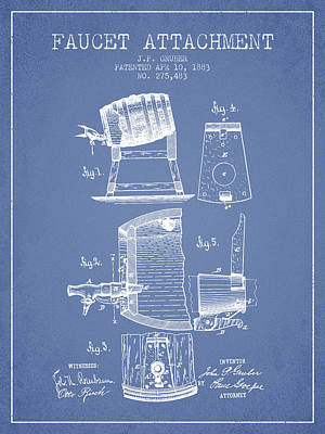 Beer Drawing - 1893 Faucet Attachment Patent - Light Blue by Aged Pixel