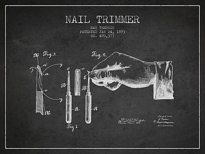 Beauty Salon Drawing - 1893 Nail Trimmer Patent - Charcoal by Aged Pixel