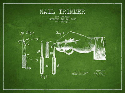 Beauty Salon Drawing - 1893 Nail Trimmer Patent - Green by Aged Pixel