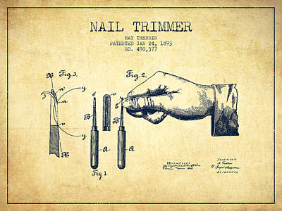 Beauty Salon Drawing - 1893 Nail Trimmer Patent - Vintage by Aged Pixel