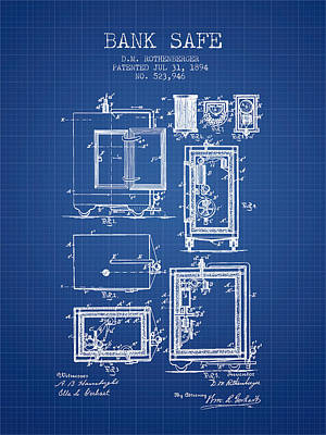 Silver Drawing - 1894 Bank Safe Patent - Blueprint by Aged Pixel