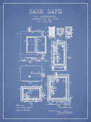 Silver Drawing - 1894 Bank Safe Patent -light Blue by Aged Pixel
