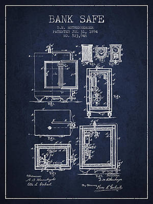 1894 Bank Safe Patent - Navy Blue Print by Aged Pixel